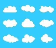 Wolkenvektor-Ikonensatz Lizenzfreie Stockbilder