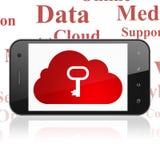 Wolkenvernetzungskonzept: Smartphone mit Wolke mit Schlüssel auf Anzeige Stockbild