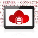 Wolkenvernetzungskonzept: Tablet-Computer mit Datenbank mit Wolke auf Anzeige Lizenzfreie Stockfotografie