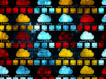 Wolkenvernetzungskonzept: Wolken-Netzikonen an Stockbild