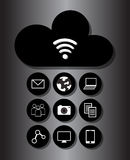 Wolkenwi-fiverbindung und -Soziales Netz lizenzfreie abbildung