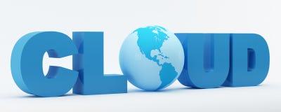 Wolkenwort mit blauer Kugel Lizenzfreie Stockfotos