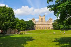 Wollaton castle in Nottingham, United Kingdom. Nottingham, England - July 8, 2017: Panorama of Wollaton castle, major tourist landmark in Nottingham, East stock photos