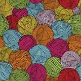 Wollbälle, Garnstränge Nahtloses Muster Bunter Hintergrund Stockbild