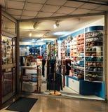 Wolle speichert den Verkauf der verschiedenen Art der Wolle und anderer strickender acces Stockfotografie