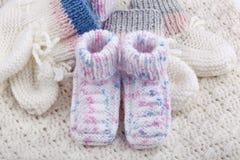 Wollen babysokken Royalty-vrije Stock Afbeeldingen