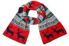 Wollen gebreide sjaal met het Skandinavische patroon Stock Foto's
