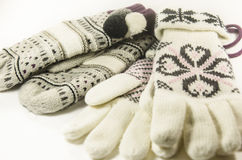 Wollen gloves and mittens Stock Image