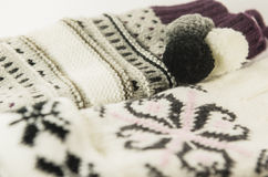 Wollen gloves and mittens Royalty Free Stock Images