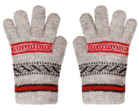 Wollen handschoenen die op witte achtergrond worden geïsoleerdf Royalty-vrije Stock Foto