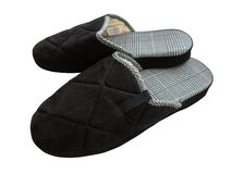 Wollen pantoffels - zwarte stock foto