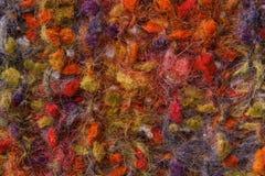 Wollen textuurachtergrond, de gebreide veelkleurige stof van de kleurenwol, Stock Afbeelding