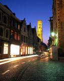 Wollestraat and Belfry, Bruges. Royalty Free Stock Photos