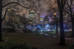 Wollman rink in central park at night. Wollman rink ice skating in central park new york Royalty Free Stock Images