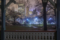 Wollman rink in central park during the night. Wollman rink ice skating in Central park new york city during night Royalty Free Stock Photo