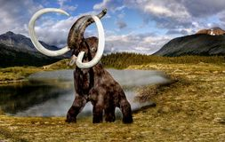 Wolly μαμμούθ, προϊστορικό Elepfant στη φύση στοκ εικόνα