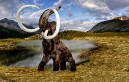 Wolly mamut, Prehistoryczny Elepfant w naturze obraz stock
