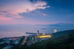 Wolmi amusement park after Sunset at incheon, south korea
