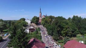 Wolnica de WÄ…, peregrinação, vista aérea video estoque