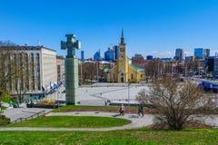 Wolność kwadrat w Tallinn, Estonia, Europa obraz royalty free