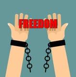 Wolność Ręki w szaklach złamany łańcuch Łamani kajdanki palma Fotografia Stock