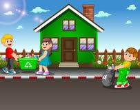 Wolontariusz żartuje kolekcjonowanie grat przy ulicą dom ilustracja wektor