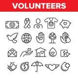 Wolontariuszi, dobroczynność wektoru Cienkie Kreskowe ikony Ustawiać ilustracja wektor
