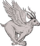 Wolpertinger Running Side Drawing. Drawing sketch style illustration of a Wolpertinger, in Bavarian folklore, a mythical hare with antlers, fangs and wings Stock Image