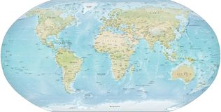 Wolrd Map detailed Royalty Free Stock Images