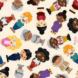 Wolrd people seamless pattern Royalty Free Stock Photo
