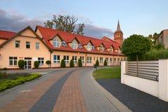 Wolsztyn, POLONIA - 27 de agosto de 2017: Edificio Gran Polonia por la calle de Rzeczna Imagenes de archivo