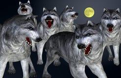 Wolven op volle maannacht royalty-vrije illustratie