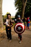 Avengers at Lucca Comics and Games 2017. Wolverine and Captain America during the Lucca Comics and Games 2014 festival Stock Image
