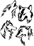 Wolves. Wolf tribal tattoo style. Vector set Royalty Free Stock Image