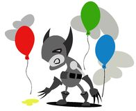 Wolves and balloons Cartoon Royalty Free Stock Image