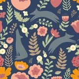 Wolves and colorful stylized flowers. Seamless pattern vector illustration