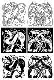 Wolves and dogs in celtic ornament Royalty Free Stock Images