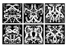 Wolves or dogs patterns with celtic ornament Stock Image