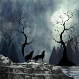 Wolves Howling at the Moon Stock Photo