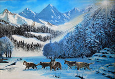 Free Wolves In The Snow Royalty Free Stock Images - 16053249