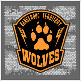 Wolves - military label, badges and design. Elements. Street fighting club and Security badge with wolf, foot tracks and inscriptions Wolves royalty free stock photo