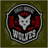 Wolves - military label, badges and design. Elements. Street fighting club and Security badge with wolf, foot tracks and inscriptions Wolves stock image