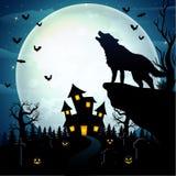 Wolves roar at the celebration of Halloween Vector Illustration