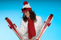 wom blanc folâtre sexy rouge d'équipement de brunette image libre de droits