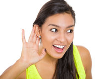 Wom,an eavesdropping Royalty Free Stock Photo
