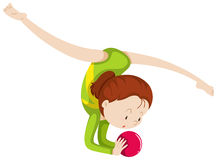 Woma doing gymnastics with red ball. Illustration Stock Images