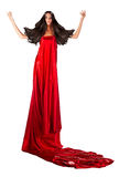 Woma in red dress with magnificent hair Stock Photo