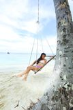 Womain in beach hammock Royalty Free Stock Photography