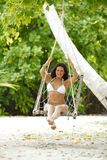 Womain in beach hammock Stock Photos