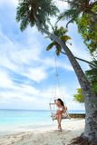 Womain in beach hammock Stock Photography